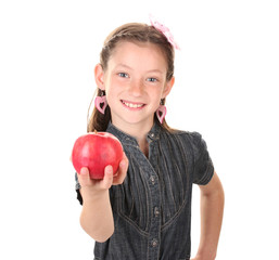 Portrait of beautiful little girl with apple Isolated on white
