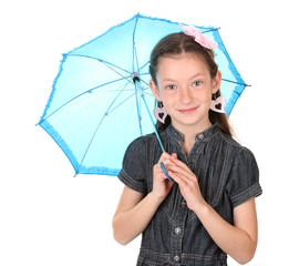 Portrait of beautiful little girl with umbrella