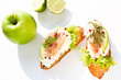finger food with trout and apple crostini