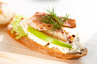 trout crostini with cream cheese and dill