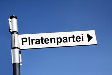 Wegweiser Schild Piratenpartei