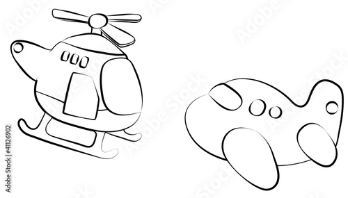 Cartoon Aircraft sketch. Travel theme.