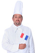 Kitchen chef holding French flag