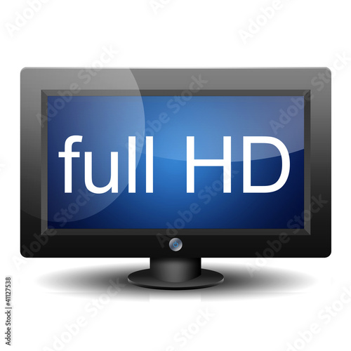 Icono monitor 3d con texto full HD