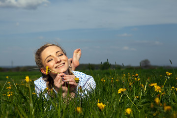 smiling woman outdoor in summer