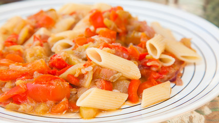 vegetarian penne pasta dish