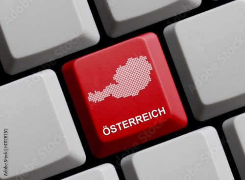 Österreich - Umriss auf Tastatur