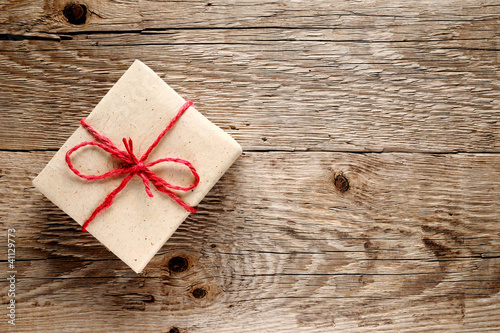 Vintage gift box on wooden background - 41129773