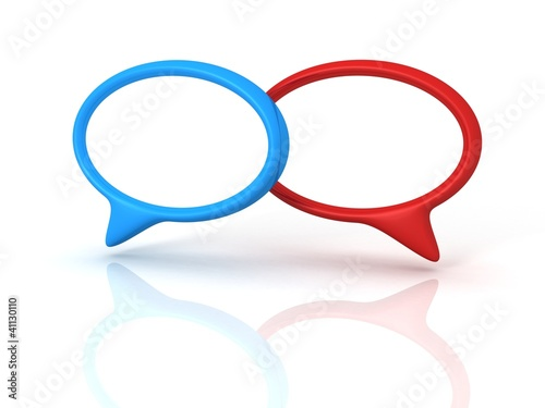 red and blue concept speech dialogue bubbles on white background