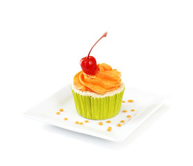 Cupcake on white background