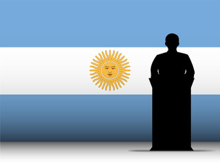 Argentina Speech Tribune Silhouette with Flag Background