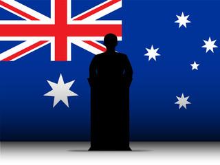 Australia Speech Tribune Silhouette with Flag Background