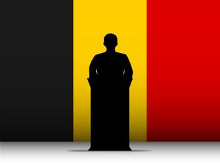 Belgium Speech Tribune Silhouette with Flag Background