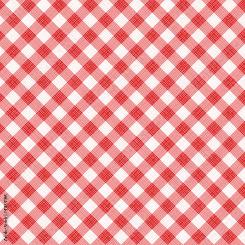 Red gingham fabric cloth, seamless pattern included