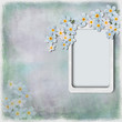 Grunge background with  frame and spring flowers