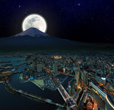 surreal night view of Yokohama city , Japan, retouch image poster