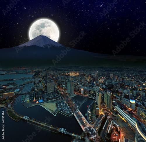surreal night view of Yokohama city , Japan, retouch image