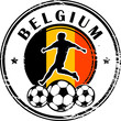 Stamp with football and name Belgium, vector illustration