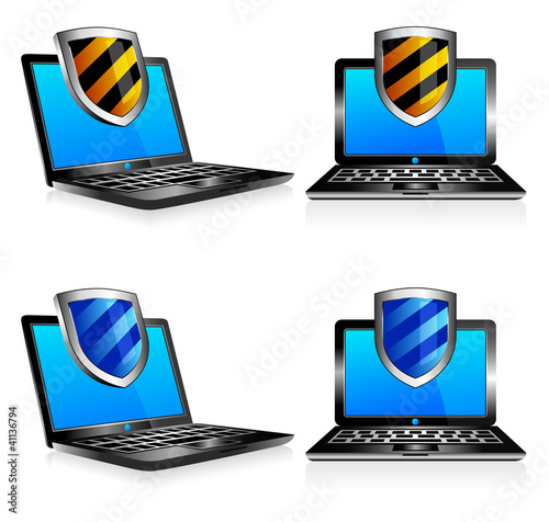 Shield antivirus laptop 3D and 2D