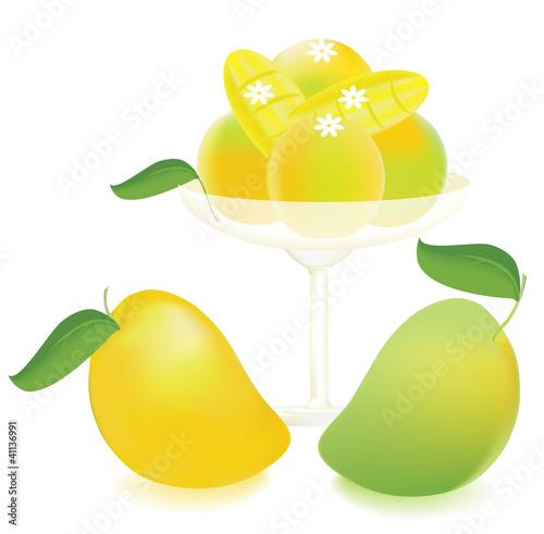 Ice cream mangoes and sliced mango