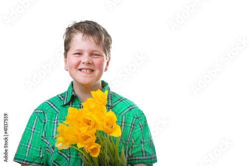 Frühlingsbote - Junge mit Tulpen