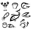 big set of sea food symbols