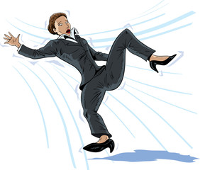 Illustration of a business woman falling