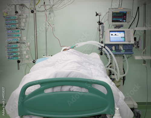 bed ICU with the patient