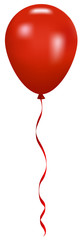 Vector illustration of red balloon with ribbon