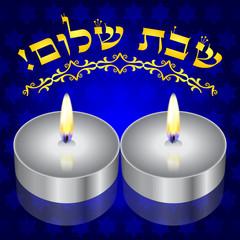 Shabbat Shalom! vector background with kiddush candles