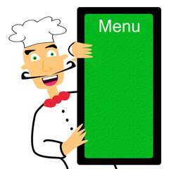 Cartoon chef holding menu