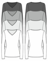 long-sleeved V-neck T-shirt design template (front & back)