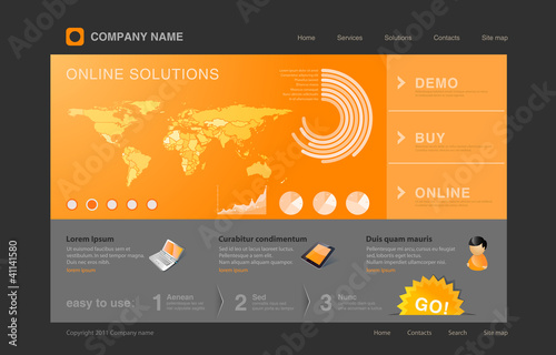 Website template with infographics