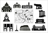 Rome. Black-and-white map and hallmarks poster