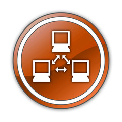 "Orange Glossy Button ""Network"""