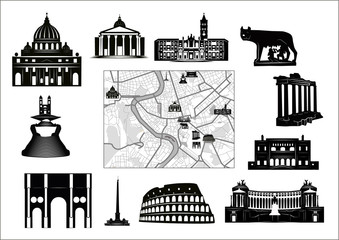 Rome. Black-and-white map and hallmarks