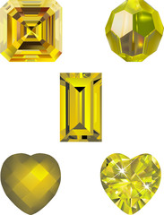 Yellow Crystal Vector Illustrations