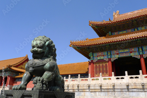 An imperial guardian lion in front of the gate of Supreme Harmon