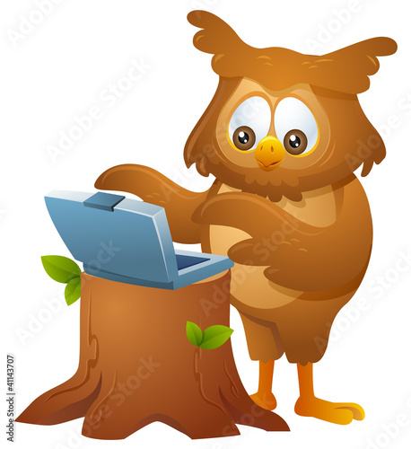 mascot owl - operating a laptop