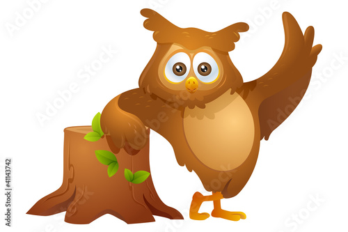 mascot owl - leaning on a cutted tree