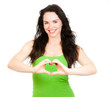 Attractive woman symboling love heart