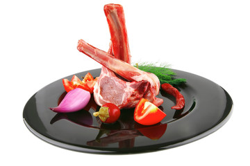 lamb chops on black