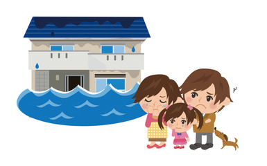 水害にあう家