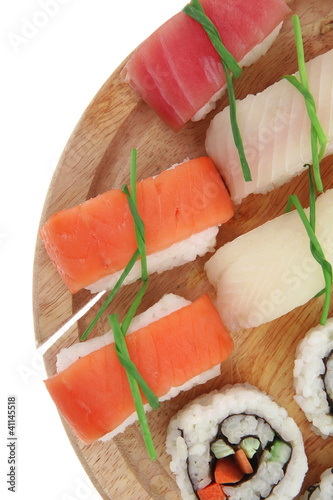 California Maki Roll with Nigiri set on plate