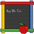 Ruler Blackboard, ABCs, Apple for the Teacher