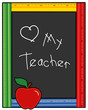 Love My Teacher, Ruler Blackboard, Apple