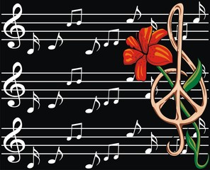 white music notes and flower