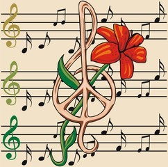 music notes and flower