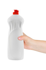 Hand with plastic bottle