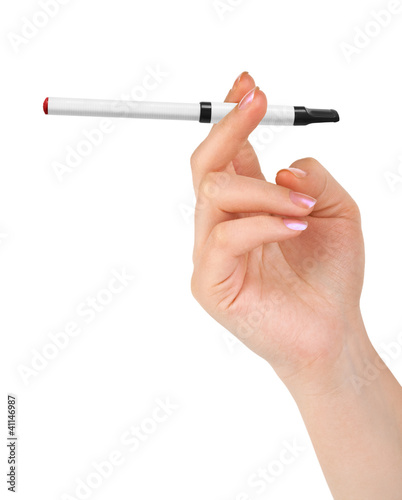 Hand with electronic cigarette
